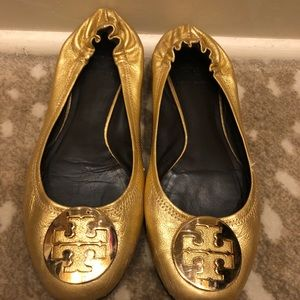 Tory Burch Gold Minnie flats